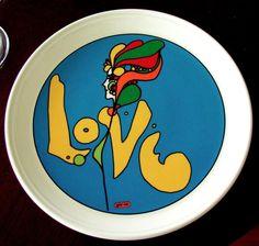 PETER MAX LOVE PLATE Pop Art Decor Iroquois China New York Rare EVC True Vintage #IroquoisNewYork
