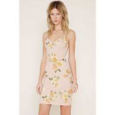 Forever 21 Women's  Rose Print Cami Dress ($13) ❤ liked on Polyvore featuring dresses, cami dress, v neck dress, v-neck dresses, camisole dress and v neck cami dress