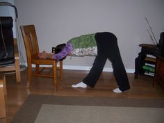 Nice chair yoga stretch for low back, do the other leg, too