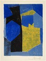 Composition bleue, noire et jaune von Serge Poliakoff
