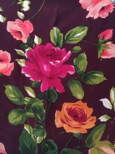Vintage-ECHO-Oblong-Floral-Roses-Flowers-Silk-Scarf-60-L-w-fringe-11-w-marsala