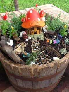 Great idea for a fun kids fairy garden - outdoor decorating
