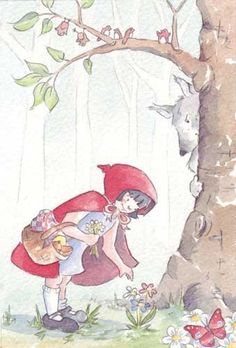 Paula Bowles Illustration - paula, paula bowles, bowles, paint, painted, watercolour, traditional, commercial, picture book, picturebook, sweet, people, girl, girls, red riding hood, little red riding hood, woods, forest, trees, wolves, wolf