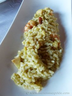 Italian seafood risotto from a Maremma Tuscany restaurant: Pippin apple and local prawn risotto with a scampi broth :) Tuscany Food, Seafood Risotto, Tuscan Recipes, Scampi, Fish Dishes, Prawn, Restaurant, Apple, Ethnic Recipes