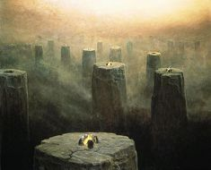 Zdzislaw Beksinski (1929–2005). DG-2499, 1975. See the Dmochowski Gallery for a comprehensive collection of the artist's work.