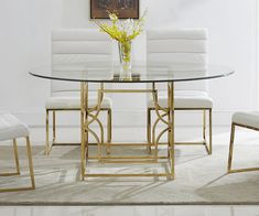Everly Quinn Lofton Dining Table Color: Gold, Size: x x Glass Round Dining Table, Counter Height Dining Table, Pedestal Dining Table, Solid Wood Dining Table, Extendable Dining Table, Dining Table In Kitchen, Glass Table, Dining Tables, Metal Tables
