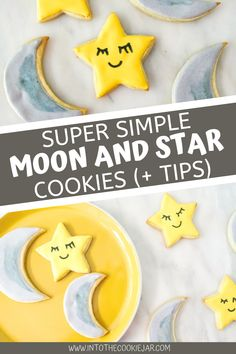 This moon and star cookie tutorial is a fantastic way to make cookies for kid's birthday parties or baby shower. Draw on the cute little smiles with an edible food marker and enjoy these decorated cookies made with a cut-out sugar cookie base and royal icing. Cookie Recipes For Kids, Cookies For Kids, Best Cookie Recipes, How To Make Cookies, Star Sugar Cookies, Moon Cookies, Royal Icing Cookies Recipe, Star Cookie Cutter, Cookie Tutorials