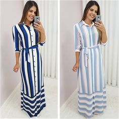 Image may contain: 2 people, people standing and stripes Best Prom Dresses, Modest Dresses, Casual Dresses, Abaya Fashion, Fashion Dresses, Abaya Mode, Hijab Stile, Frack, Western Dresses