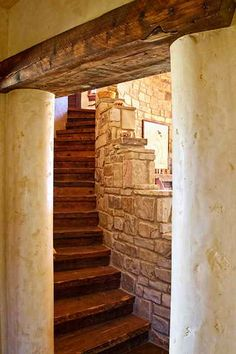 straw bale house- wood, stone, stairway...to heaven?