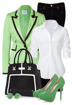 """green, black & white"" by sagramora ❤ liked on Polyvore featuring Ted Baker, Moschino Cheap & Chic, Steffen Schraut, River Island, CO, Stella & Dot, women's clothing, women, female and woman"