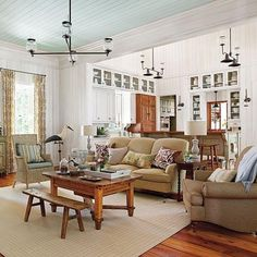 LOVE so much about this room!!! Ceiling, paneled walls,  glass in cabinets, white, bead board