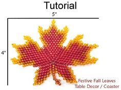 Beaded Festive Fall Leaves Coaster Thanksgiving Table Decor Beading Pattern Tutorial | Simple Bead Patterns