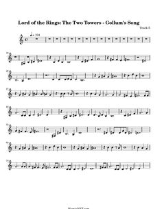 Lord of the Rings: The Two Towers - Gollum's Song Sheet Music