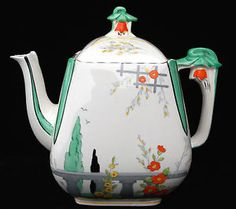 BURLEIGH WARE ART DECO RIVIERA TEAPOT, IMPERIAL SHAPE in Pottery, Porcelain & Glass, Pottery, Burleigh | eBay