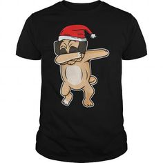 Awesome Tee cute dog dab with santa hat chrismas tshirt T-Shirts