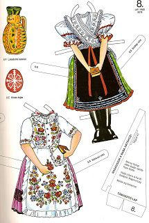 Folk Costume, Costumes, Paper Puppets, Hungarian Embroidery, Matryoshka Doll, Vintage Paper Dolls, My Heritage, Creative Crafts, Line Drawing