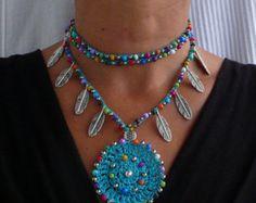Indigo blue TRIBAL MANDALA crochet NECKLACE boho necklace beaded crochet necklace ethnic jewelry hippie style colorful mandala silver spiral by PanoParaTanto