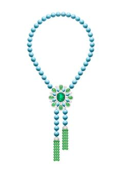 Piaget Extremely Piaget necklace in white gold set with 301ct of turquoise beads, 42ct of chrysoprase beads, a 23ct cabochon emerald, 15ct of pear-shaped chrysoprase, pear-shaped turquoise and brilliant-cut diamonds.