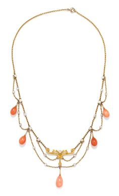 An Art Nouveau Yellow Gold, Coral and Seed Pearl Swag Necklace