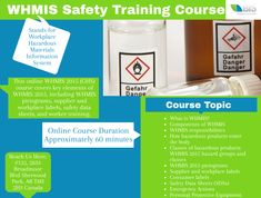 This online WHMIS 2015 (GHS) course covers key elements of WHMIS including WHMIS pictograms, supplier and workplace labels, safety data sheets, and worker training.