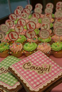 @Audrey Thornhill, was this Maddy's theme last year?    cowgirl birthday party - cupcake toppers