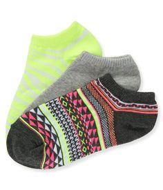 3-Pack Geo, Aero & Zebra Ped Socks - Aeropostale