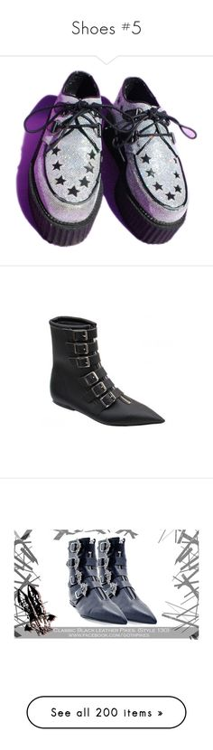"""""""Shoes #5"""" by headbangingunicorn ❤ liked on Polyvore featuring shoes, creepers, boots, vegan boots, synthetic leather boots, 80s boots, fake leather boots, faux leather shoes, leather buckle boots and vegan shoes"""