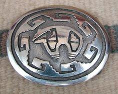 Item   769R - Navajo Spirit Bear Silver Overlay Belt Buckles by M.KEE.  Ceinture ... 7af4d36ac8d