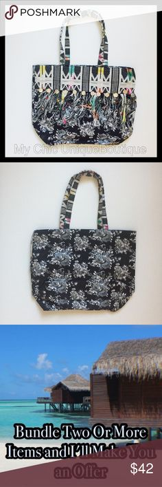 Black Floral Cotton Boho Tote Manufactured by America and Beyond, purchased wholesale directly through them. They are a very prestigious designer with a very boho feel with good quality and affordable pieces. . Lightweight 100% Cotton. 14x16x6x11                                                            ‼️Unless Stated otherwise REASONABLE OFFERS ONLY I may counteroffer once and will not take less. ❤️For guarantee discount ...bundle                              💵ILOVE TRADING........ only…