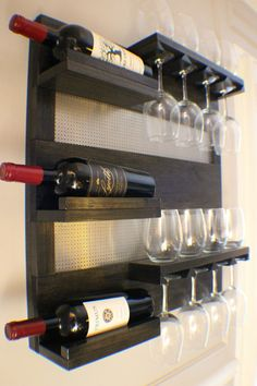 Modern Ebony And Chrome, Stained Wall Mounted Wine Rack with Shelves and Decorative Mesh, Wine and Liquor Shelf and Cabinet