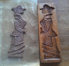 Old springerle cookie mold - Victorian Lady. Germany.