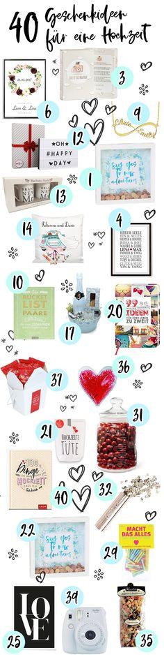 40 Geschenkideen für eine Hochzeit