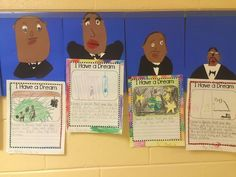 """My firsties worked really hard on their """"I Have a Dream"""" writing yesterday. To finish their project they got to make adorable Martin Lither King Jr. portraits."""