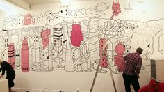 Superbe Cool Office Wall Art White Black Pink Doodle Mural Art With Building  Picture Beautiful Cool Office Interiors Decoration Design Ideas