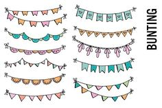 Bunting Banner Doodle Clip Art by Pepper on @creativemarket