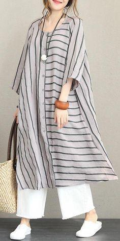 Loose Striped Linen Shirt Dresses Women Casual Clothes – Linen Dresses For Women Casual Dresses For Women, Casual Outfits, Fashion Outfits, Clothes For Women, Casual Clothes, Style Clothes, Hijab Fashion Casual, Linen Shirt Dress, Linen Dresses