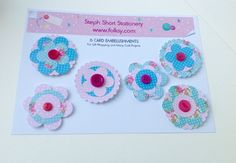 Card Embellishment Pack of Six,Card Toppers,Gift Wrap Decorations,Handmade £3.00