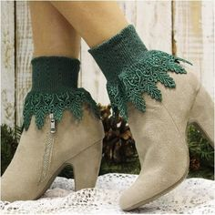 lace socks - boots - heels - outfit - woman - ankle - flats  knitted Frilly Socks, Lace Socks, Lace Cuffs, Slouch Socks, Boot Socks, Ankle Socks, Socks For Flats, Footless Sandals, Irish Wedding