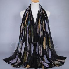 #BFCM #CyberMonday #TBDress - #TBDress Colorful Feather Printed Cotton Womens Scarf - AdoreWe.com