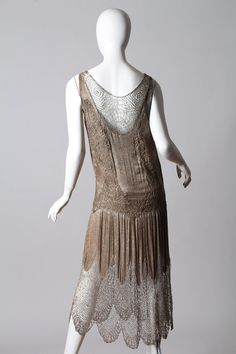 1920s Art Deco Lace made from Silver and Beads