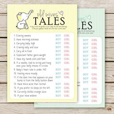 Enjoy this fun FREE printable baby shower game featuring the cute little elephant in gender neutral colors- yellow and green.