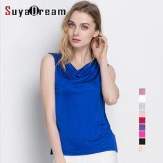 f0c919ea440 100% pure REAL SILK sleeveless women solid fashion basic shirt draped neck  barlet femininas tank