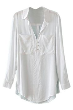 ROMWE | ROMWE Pocketed Long Sleeves White Shirt, The Latest Street Fashion