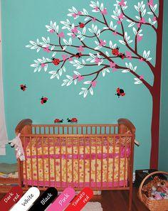 Corner tree decal with ladybugs nursery tree ladybirds wall mural stickers Nursery baby decals  004_2