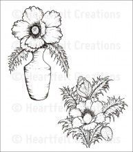 Blazing Poppy Vase Cling Stamp Set
