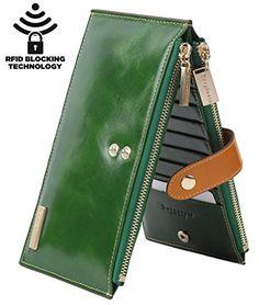 Borgasets RFID Blocking Women's Genuine Leather Zipper Wallet Credit Card Holder Purse (Green) for sale Handmade Leather Wallet, Leather Keychain, Rfid Wallet, Clutch Wallet, Credit Card Wallet, Leather Accessories, Zipper Bags, Wallets For Women, Purses