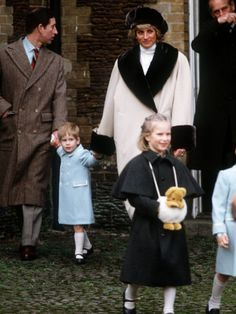 Prince Charles, Princess Diana, Prince Harry and Zara Phillips at Sandringham January 1988