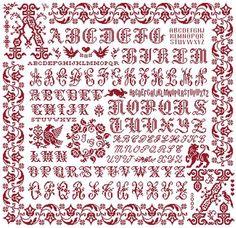 A to Z Sampler - Marquoir rouge au point de croix de Clorami Designs. www.clorami-designs.be