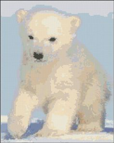 Polar Bear.  Saved to  my Word and pattern is free download at http://www.cross-stitch-pattern.net/Polar-Bear-Cub-37-57-Free-Design.aspx