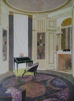 Jacque-Emile Ruhlmann Art Deco Interior concept drawing